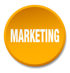 Marketing orange round flat isolated push button vector