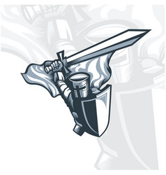 monochrome knight swinging a sword vector image