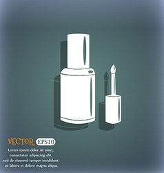 Nail polish bottle icon on the blue-green abstract vector