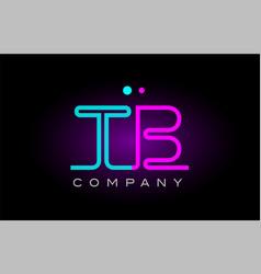 neon lights alphabet tb t b letter logo icon vector image