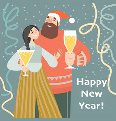 New year card with cute couple drinking wine vector