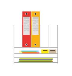 office folder desk paper file icon document vector image