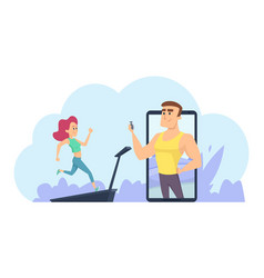 Online fitness coach personal training vector