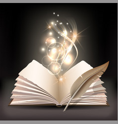 Open book with mystic bright light and feather vector