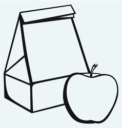 Paper bag and apple vector image