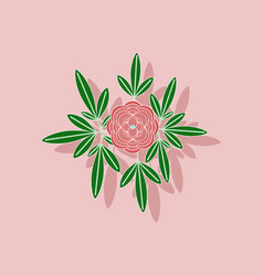 Paper sticker on background of flower paeonia vector