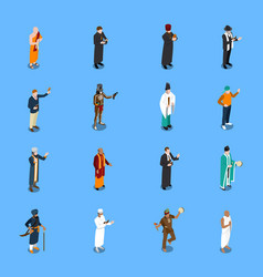 People religion isometric icons set vector