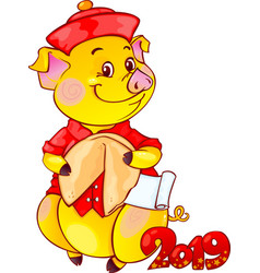 Piglet with fortune cookie for the new year 2019 vector