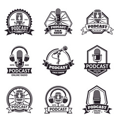 podcast emblems radio station audio podcast and vector image