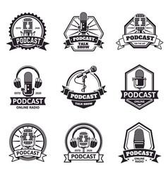 podcast emblems radio station audio vector image