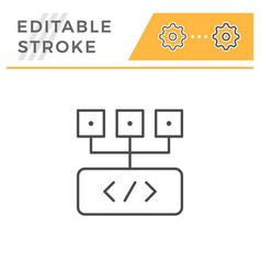 programming editable stroke line icon vector image