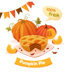 Pumpkin pie card vector