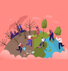 reforestation and revegetation eco concept vector image