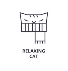 relaxing cat line icon outline sign linear vector image
