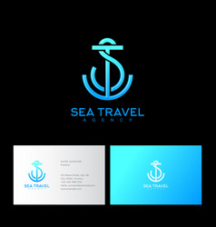 s t letters monogram blue lines anchor vector image