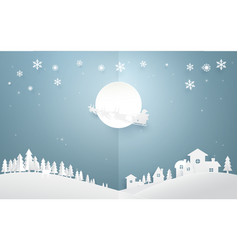 santa claus with reindeer on full moon background vector image