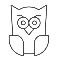 Scary owl thin line icon forest night bird vector
