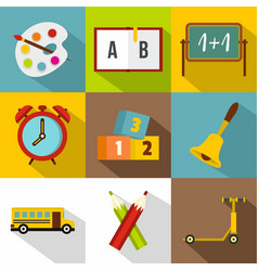 school time icon set flat style vector image