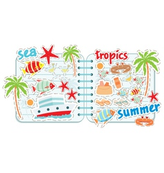 scrapbook elements with tropics vector image