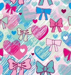 Seamless pattern with hearts and bows pink blue vector image