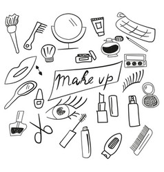 set of makeup for women and girls icons vector image