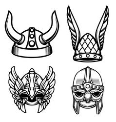 set of viking helmets isolated on white vector image