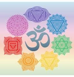 Set seven chakras and symbol om in centre vector