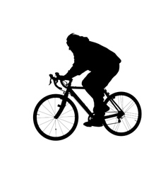 Silhouette of man riding on a bicycle vector image