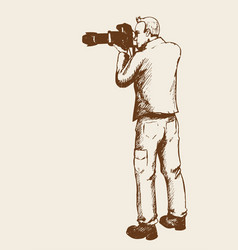 Sketch of a photographer vector