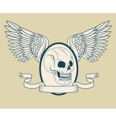 Skull with wings tattoo art design vector
