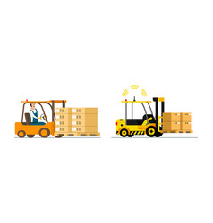 Smart logistic automatic and man-driven forklift vector