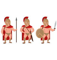 Spartan warrior in different poses vector