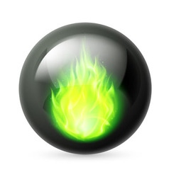 Sphere with fire flames vector image