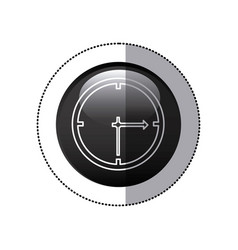 Sticker black circular frame with wall clock icon vector