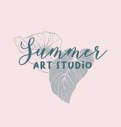 Summer art school classes logo design vector