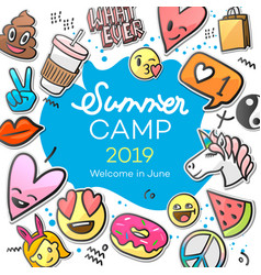 Summer camp 2019 for kids creative and colorful vector
