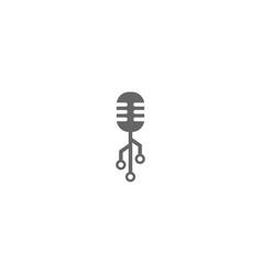 Tech podcast logo design template vector