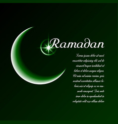Template with moon star dark green background vector