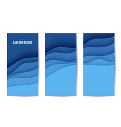 Three abstract vertical flyer collection in cut vector