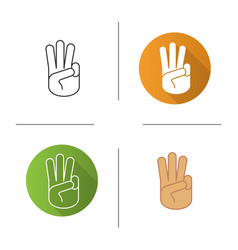 Three fingers up icon vector