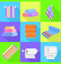 towel icons set flat style vector image