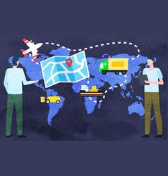 transportation over world globe delivery vector image