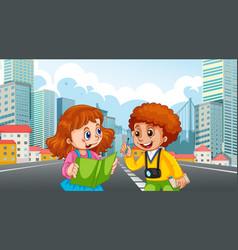 Two kids in city scene vector