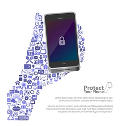 Universal icon protect phone concept vector