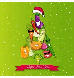 vegan new year tree vector image