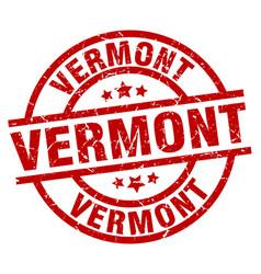 Vermont red round grunge stamp vector