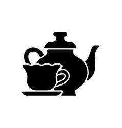 Vintage style tableware black glyph icon vector