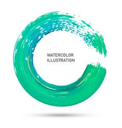 Watercolor color circle texture ink round stroke vector