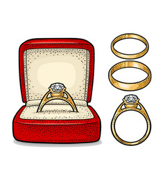 Wedding ring with diamond in a gift box vintage vector