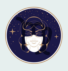 Witchcraft card with astrology virgo zodiac sign vector